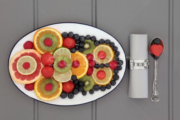 抗酸化物質 新鮮果物 ダイエット 食品 白 皿 ストックフォト © marilyna