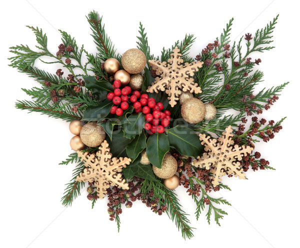 Christmas Gold Bauble Display Stock photo © marilyna