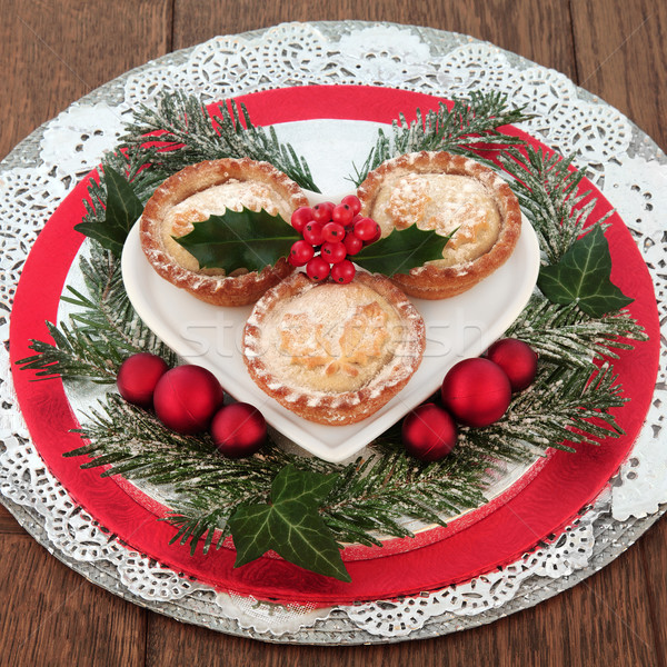 Mince Pies and Christmas Decorations Stock photo © marilyna