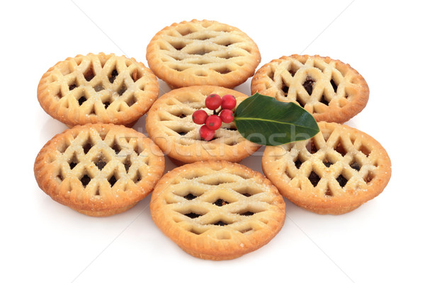 Stock photo: Mince Pies and Holly