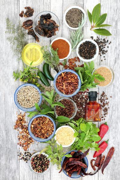 Gyógynövény fűszer öntet forró friss gyógynövények Stock fotó © marilyna