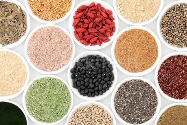 Gezondheid voedsel porselein gerechten witte Stockfoto © marilyna