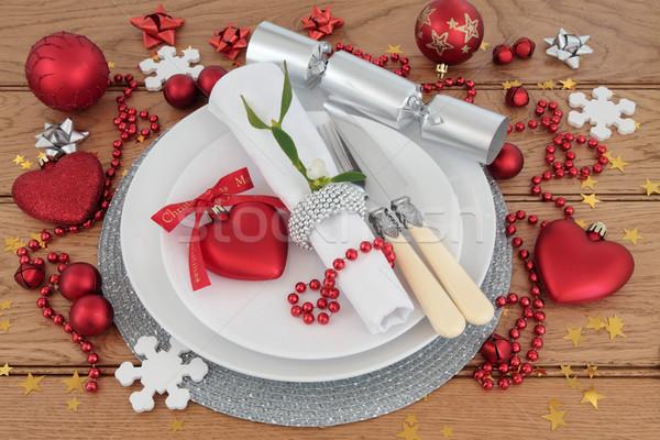 Noel akşam yemeği yer tatil plakalar antika Stok fotoğraf © marilyna