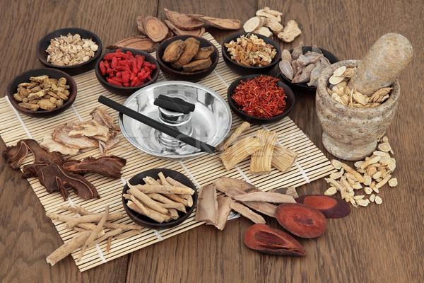 Moxa Sticks and Chinese Herbs Stock photo © marilyna