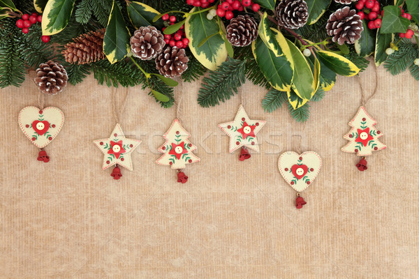 Christmas nostalgie grens ouderwets houten decoraties Stockfoto © marilyna