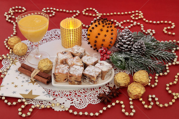 Christmas Stollen Cakes and Egg Nog Stock photo © marilyna