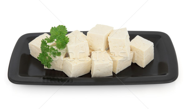 豆腐 黒 皿 白 食品 日本語 ストックフォト © marilyna