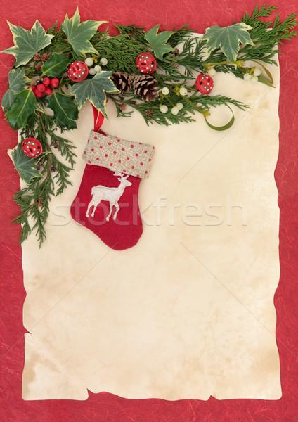 Natale stocking renne confine inverno Foto d'archivio © marilyna