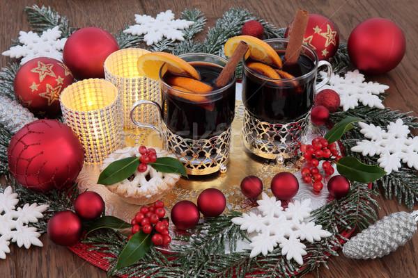 Christmas party time partij levensmiddelen drinken wijn taart Stockfoto © marilyna