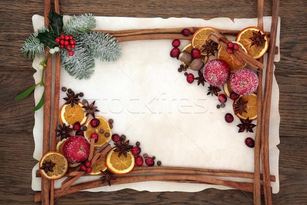 Natal decorativo fronteira abstrato canela em pau temperos Foto stock © marilyna