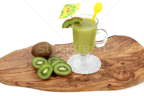 Kiwi smoothie drinken vers fruit olijfolie hout Stockfoto © marilyna