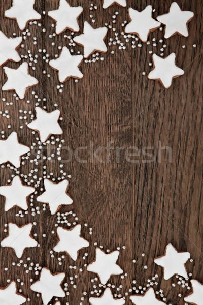 Pan di zenzero biscotti Natale star biscotto confine Foto d'archivio © marilyna