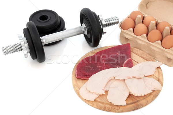 Dumbbells and Body Building Food Stock photo © marilyna