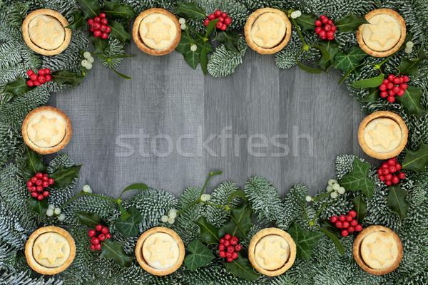 Photo stock: Noël · frontière · tartes · hiver · flore