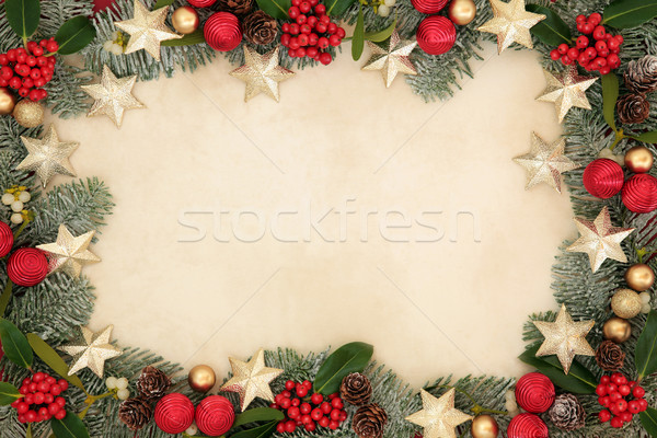Stok fotoğraf: Noel · star · sınır · altın · kırmızı · önemsiz · şey