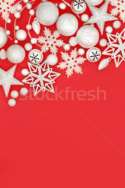 Zilver christmas snuisterij decoraties Rood abstract Stockfoto © marilyna