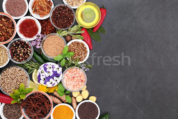 Herb and Spice Background Border Stock photo © marilyna