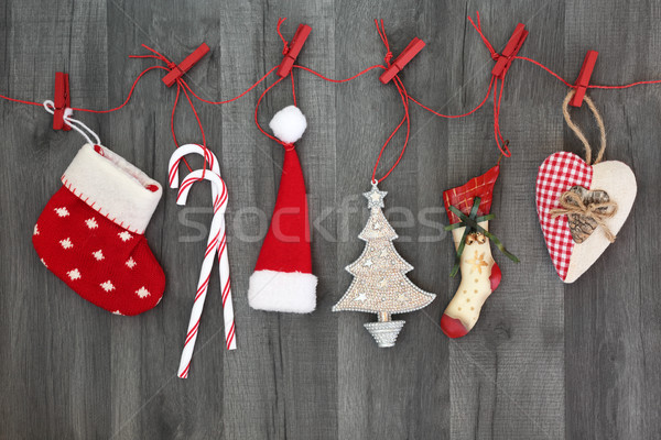 Hanging Out the Christmas Decorations Stock photo © marilyna