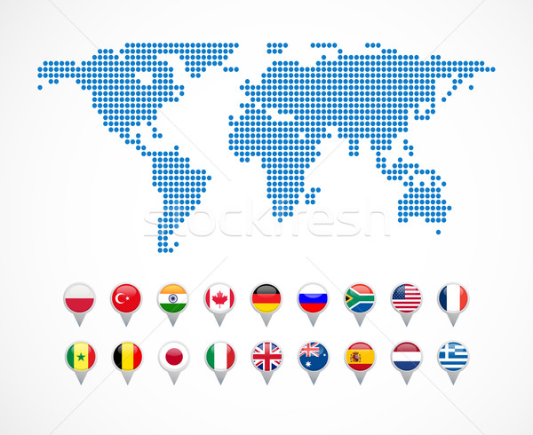 world map with set of navigation icons Stock photo © marish