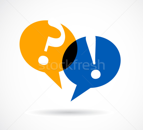 Stock photo: question and answer marks with speech bubbles