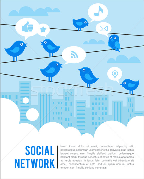Stock photo: Social network background with birds and icons