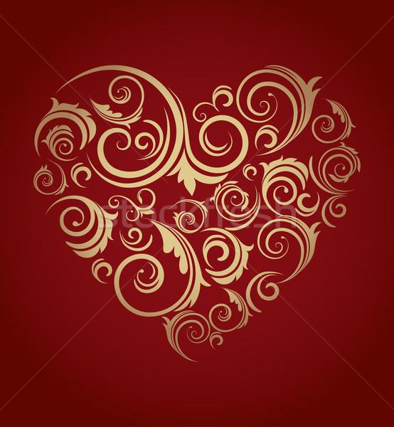 Сток-фото: ретро · красный · сердце · карт · дизайна