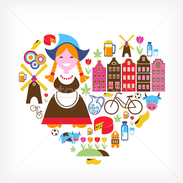 Stock photo: Heart with Netherlands vector icons