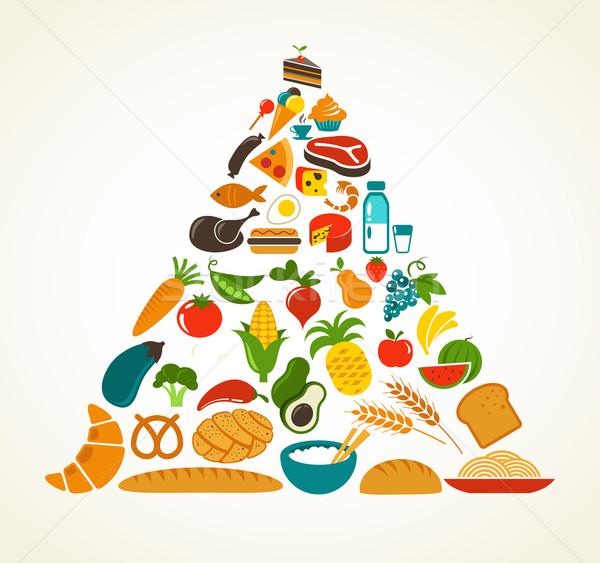 Salud alimentos pirámide vector diseno Foto stock © marish
