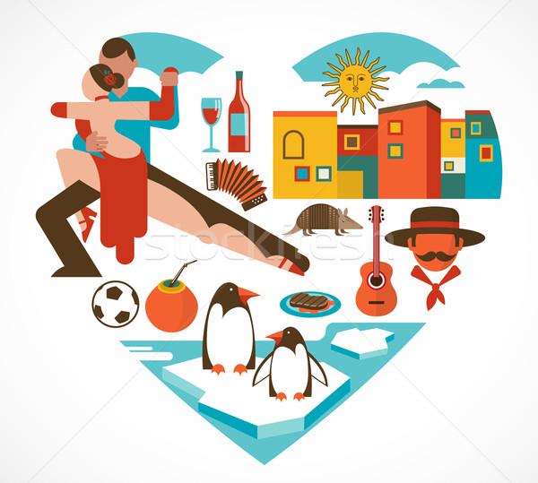 Argentína szeretet szív szett ikonok illusztrációk Stock fotó © marish