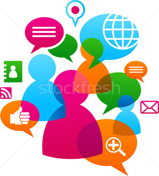 Social network backgound with media icons Stock photo © marish