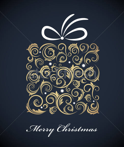 Stock photo: Vintage Christmas gift box with retro ornaments