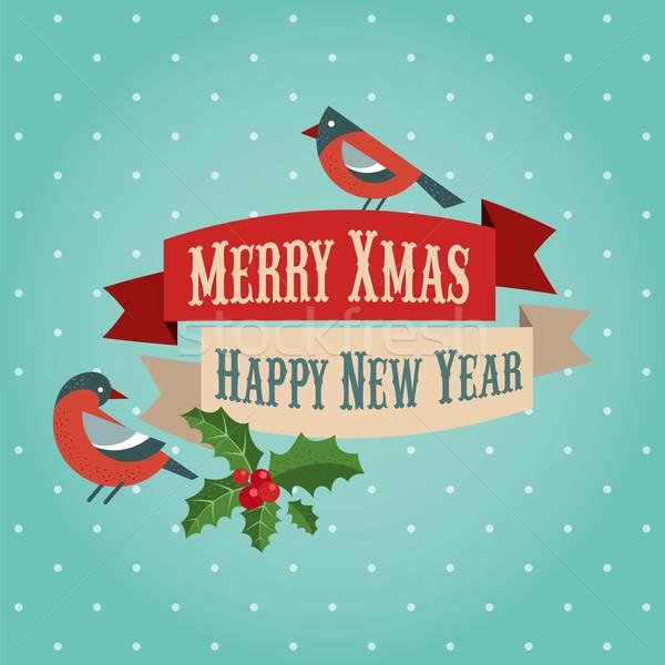 Noël oiseaux noël vecteur bannière ville Photo stock © marish