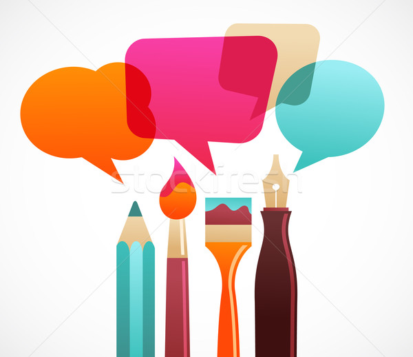 Stock photo: art and writing tools with speech bubles