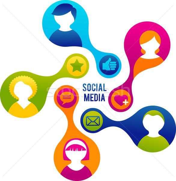Social media netwerk illustratie vector computer vergadering Stockfoto © marish