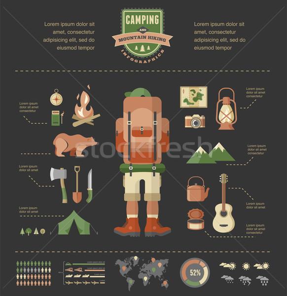 Yürüyüş kamp infographics dağcılık Stok fotoğraf © marish