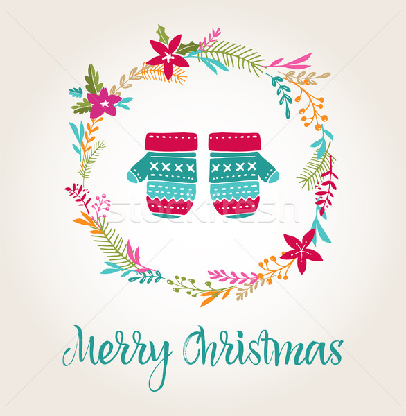 knitted mittens Xmas background, Merry Christmas card Stock photo © marish