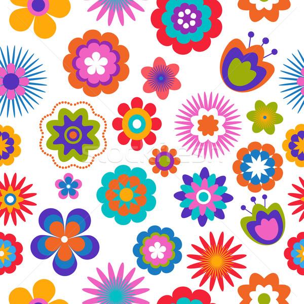 Senza soluzione di continuità modello di fiore fiore design nero wallpaper Foto d'archivio © marish