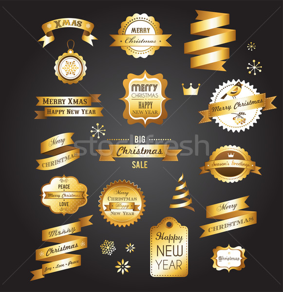 Christmas gold vintage labels, elements and illustrations Stock photo © marish