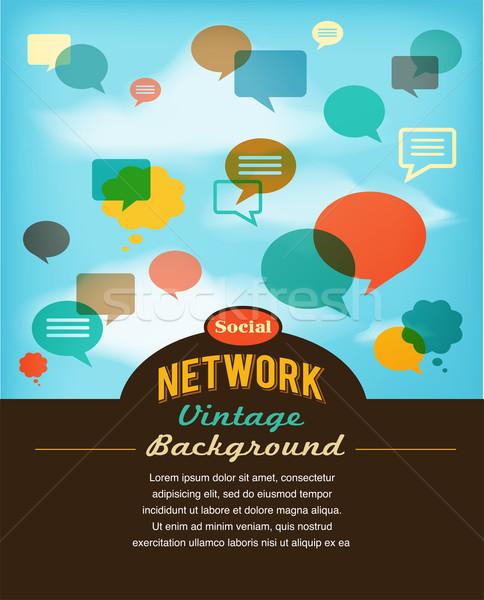 Red social los medios de comunicación comunicación vintage estilo manos Foto stock © marish