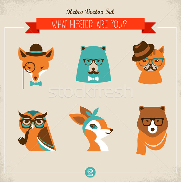 Cute fashion Hipster Animals & pets Stock photo © marish