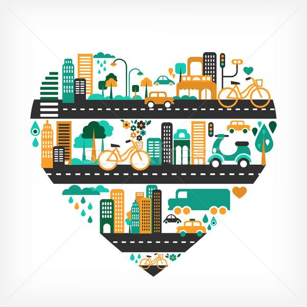 Stockfoto: Stad · liefde · hartvorm · veel · iconen · vector