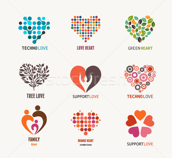 Collection of vector heart icons and symbols Stock photo © marish