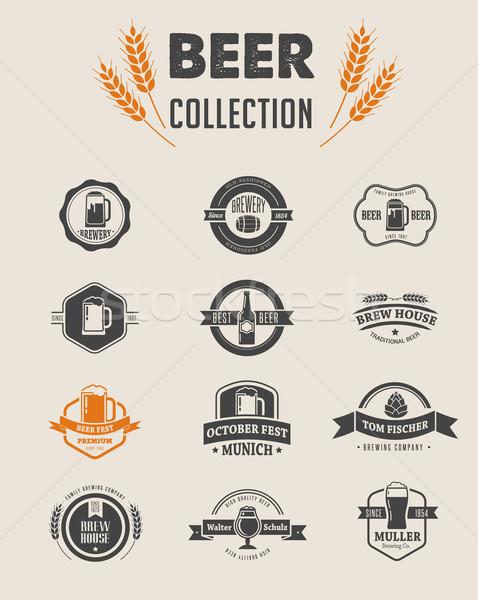 Foto stock: Coleção · vetor · cerveja · ícones · elementos · símbolos