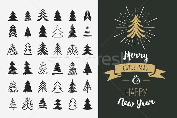 ストックフォト: 手描き · クリスマスツリー · アイコン · 要素 · 笑顔