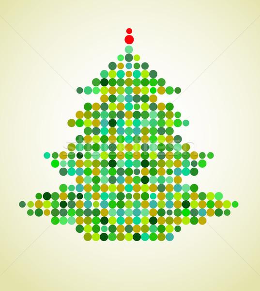 Stock photo: Xmas background with pixel Christmas tree