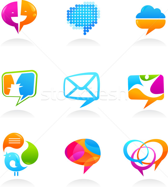 Collection of social media and speech bubbles icons Stock photo © marish