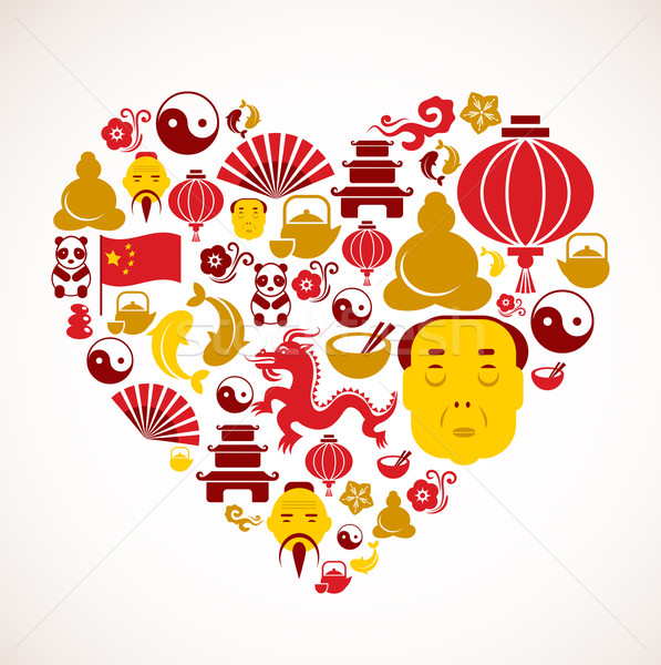 Heart shape with China icons Stock photo © marish