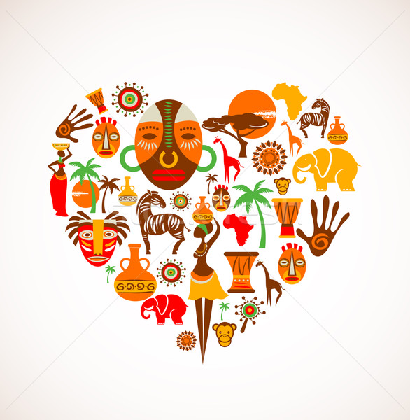Heart with Africa vector icons Stock photo © marish