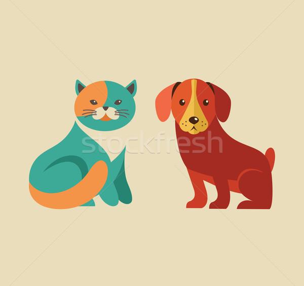 Stockfoto: Collectie · kat · hond · vector · iconen · illustraties