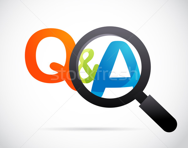 magnifying glass with question and answer Stock photo © marish